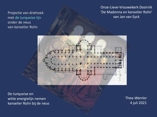 Samenvoeging plattegrond Onze-Lieve-Vrouwekathedraal Doornik met 'De Madonna van kanselier Rolin' met de driehoek 'bij de neus genomen'.