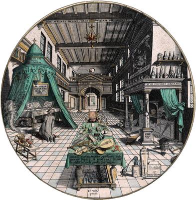 Het laboratorium van de alchemist, Hans Vredeman de Vries, circa 1595. Publiek domein. Uit: Heinrich Khunrath, Amphitheatrum sapientiae aeternae.