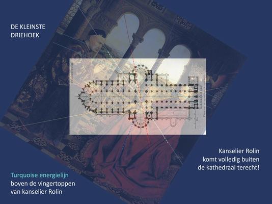 Samenvoeging plattegrond Onze-Lieve-Vrouwekathedraal Doornik met 'De Madonna van kanselier Rolin' met de kleinste driehoek.