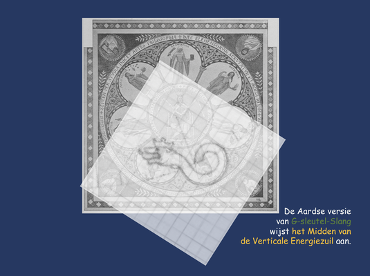 De Aardse G-sleutel-Slang wijst op het mozaïek van Philosophia de Verticale Energiezuil aan.