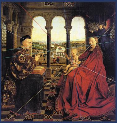 Jan van Eyck (1935). De Madonna van kanselier Rolin. Publiek domein, via Wikimedia Commons. Ingetekend twee evenwijdige turquoise energielijnen.