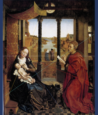 Het Energielijnenpatroon van de Onze-Lieve-Vrouwekathedraal van Doornik onderliggend aan de compositie van het schilderij 'De Heilige Lucas schildert de Madonna'.