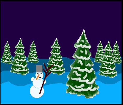 Снеговик в лесу. Софья Б.