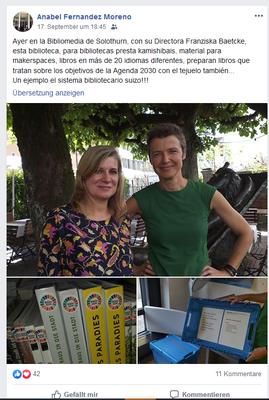 Post on Facebook from Anabel Fernandez Moreno (Incoming 2019) with Franziska Baetcke from Bibliomedia. Agenda 2030.