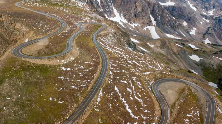 Am Beartoothpass 3337 m.ü.M. nordöstlich des Yellowstone Nationalpark USA