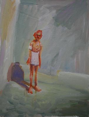 In der Ecke. Öl auf Leinwand 42 x 32 cm
