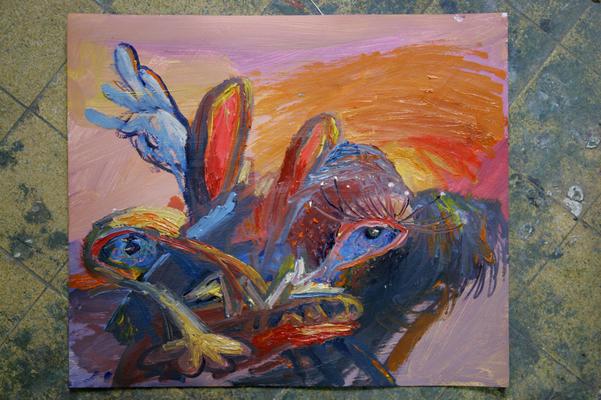 Landschaft. Öl auf Karton 31 x 31 cm