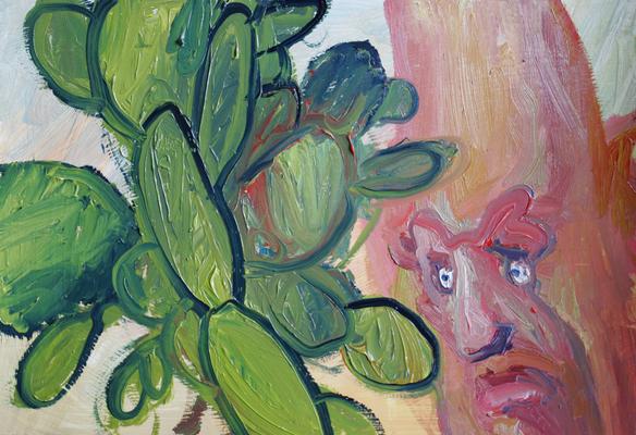 Der Sukkulentenliebhaber.   Öl auf Karton  21 x 30 cm