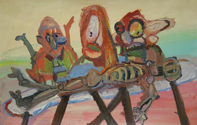 Die Autopsie.    Öl auf Karton  21 x 40 cm
