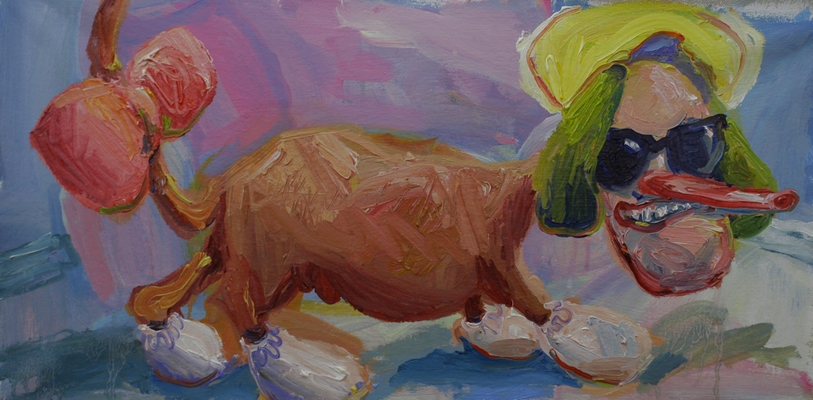 Selbstportrait als verzärtelter Dackel.  Öl auf Leinwand  27 x 35 cm