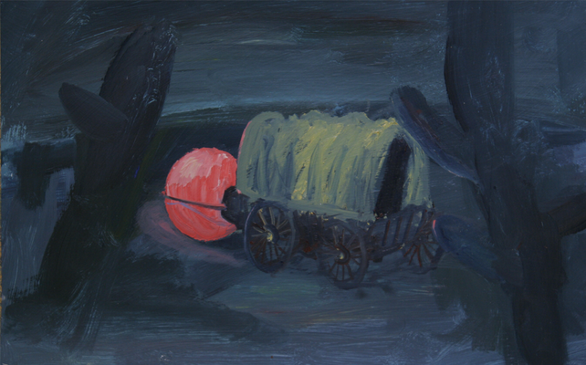 Planwagen. Öl auf Karton 27 x 41 cm
