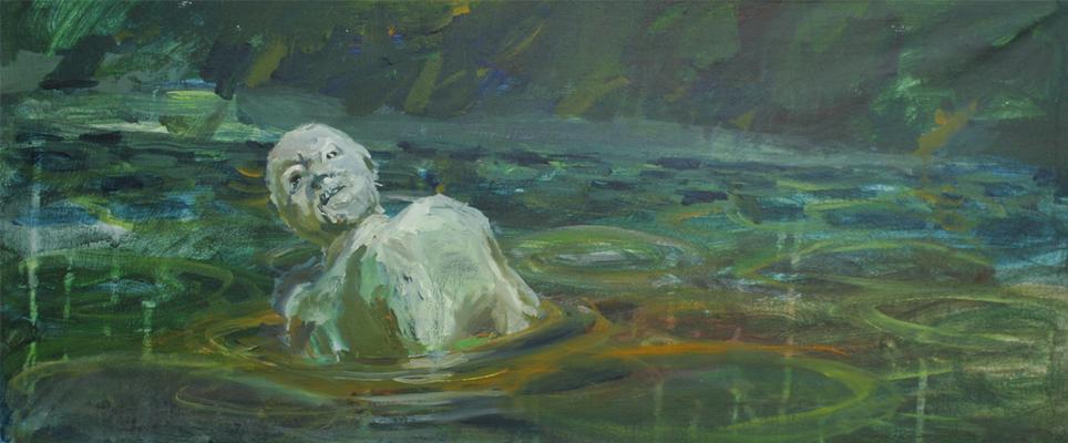Rosa Luxemburg. Öl auf Leinwand 27 x 43 cm