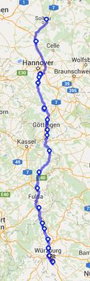 Die Strecke am Donnerstag. Soltau--> Ochsenfurt