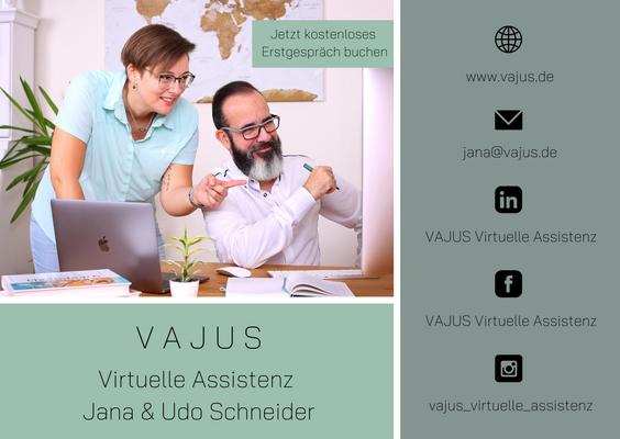 Flyer VAJUS Virtuelle Assistenz Jana und Udo Schneider Vorderseite