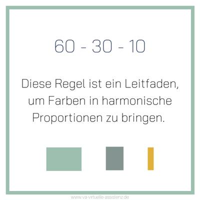 Farbkonzept, die sogenannte 60-30-10-Regel