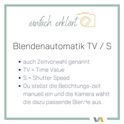 Kamera Einstellungen für gute Fotos: TV / S Blendenautomatik