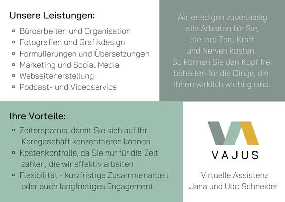 Flyer VAJUS Virtuelle Assistenz Jana und Udo Schneider Rückseite