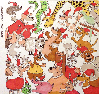 Weihnachtskarte_Weihnachtsmann_Elch_2