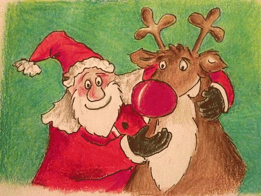 Weihnachtskarte_Weihnachtsmann_Elch