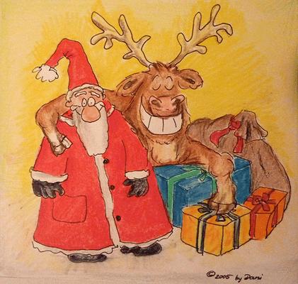 Weihnachtskarte_Elch_Weihnachtsmann