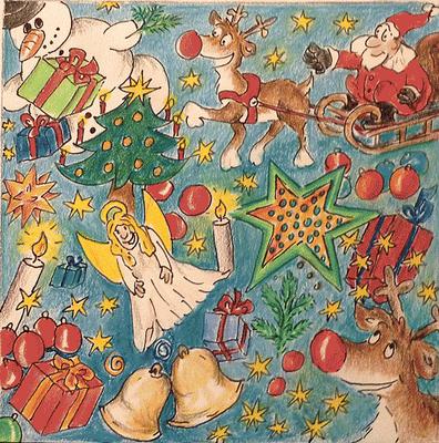Weihnachtskarte_Weihnachtsmann_Elch_1