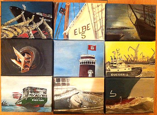 Hamburger Hafen Acrylmalerei