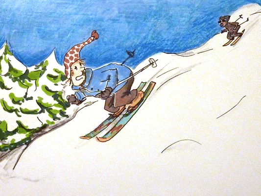 Skiläufer Grusskarte