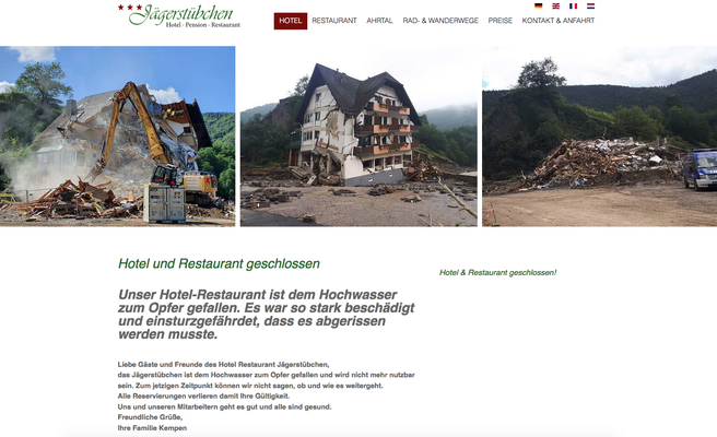 Screenshot der Website des Jägerstübchens. Stand 30.09.21 https://www.jaegerstuebchen.de/