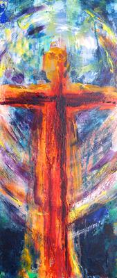 Cristo Redentor, Acrylmalerei von A. Palder, Leinwand 70x30x3,7cm