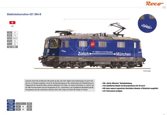"""Roco Re 421 """"Zürich-München"""""""
