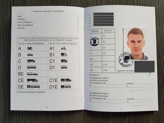 Internationaler Führerschein - Seite 6 und 7 mit Lichtbild
