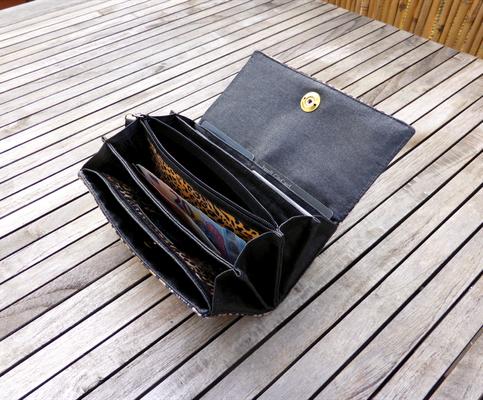 Portemonnaie Leopard mit Fächertaschen und Messing-Loxx-Verschluß