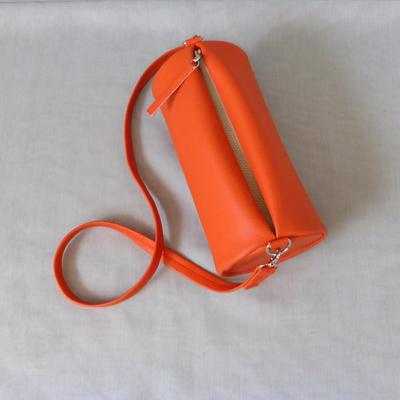 Duffle Bag Orange with Leopard von oben