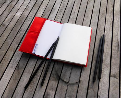 Notizbuch für Taschenkollektion FlameRed