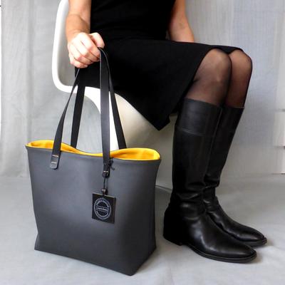 Shopper grau/gelb