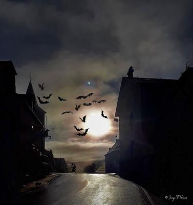 Halloween à Murat le Quaire - Travail photographique sur un cliché original d'Odette - Massif du Sancy - Auvergne - France