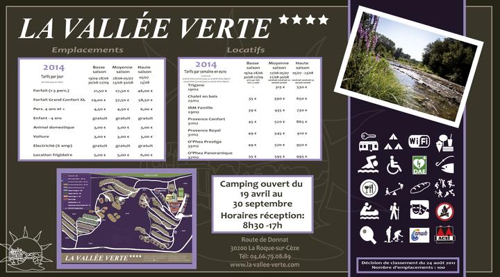 Panneau tarif La Vallée Verte