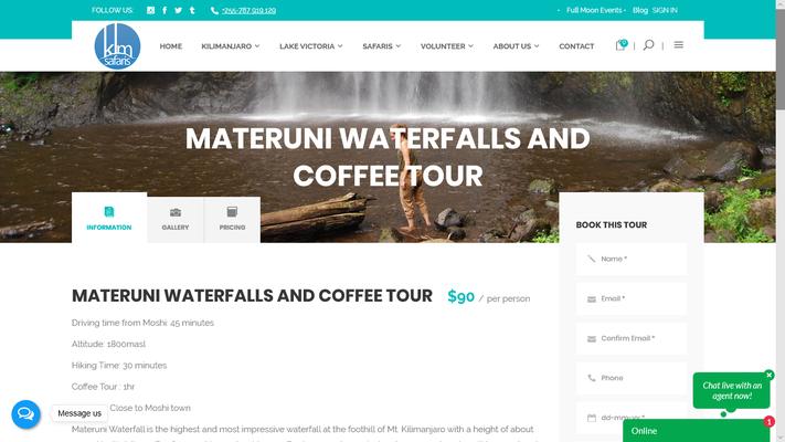 KLM Safaris, geklautes Bild Materuni Waterfall