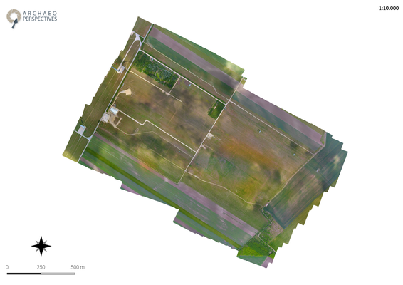 Orthofoto Maßstab 1 : 10000, bezogen auf die Originalgröße in DIN-A4 (Archaeo Perspectives 2017)