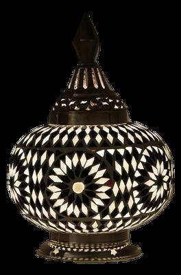 Mozaiek tafellamp,zwart wit,Oosterse lamp