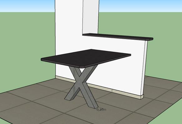 Création table, pied en X en métal, plan granit noir Zimbabwe, sur-mesure, plan 3D