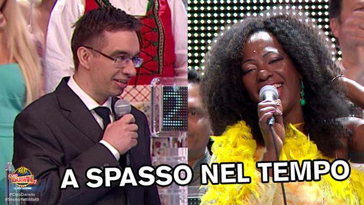 Moreno Folli e Rosana Copacabana a Ciao Darwin7 puntata n 6  22/04/2016 Italiani contro Stranieri canale 5 Mediaset