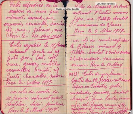 Carnet de Prisonnier: dernier colis reçu le 4 novembre 1918