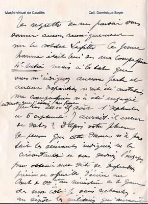 Lettre de Joseph Bascou (cousin de St Paul) à Marthe Boyer qui recherche le soldat Lafitte.  Morts tous les deux à la guerre.