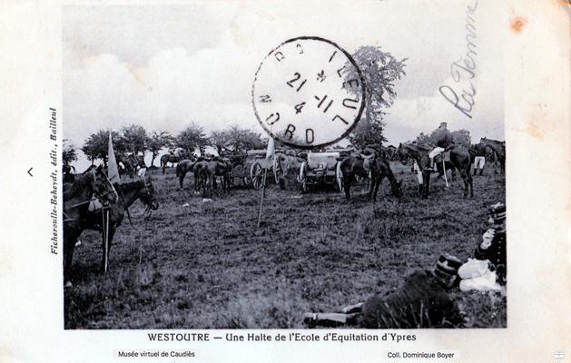 CP Joseph Cathala (Ginestas) à ses cousines.  (Décès évoqué dans lettre du Dr Cayla de Janvier 1915)