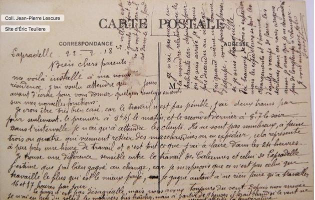Correspondance du nouveau chef de gare pour ses parents en 1918