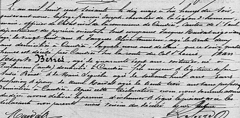 Acte de décès de Jean Joseph Bénet (archives.cd66.fr)