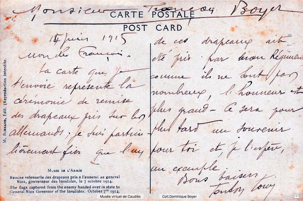 CP envoyée par Louis Boyer ( Infanterie coloniale)