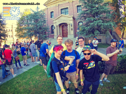 left to right shinzo, DocBrown1955, modellbaubert, Henning69 and LonePines in front of the Hill Valley town hall