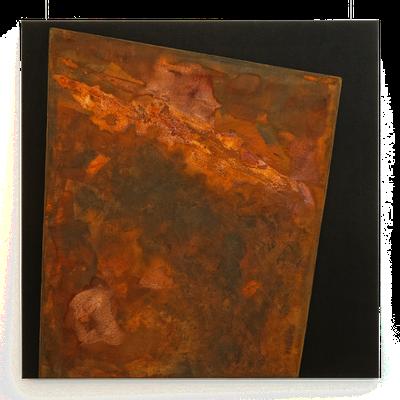 Schwarzer Canvas, Eisenfeilspäne - 80 x 80 cm, 2016